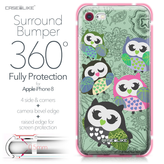 Apple iPhone 8 case Owl Graphic Design 3313 Bumper Case Protection | CASEiLIKE.com