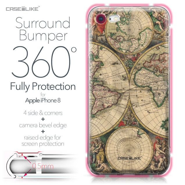 Apple iPhone 8 case World Map Vintage 4607 Bumper Case Protection | CASEiLIKE.com