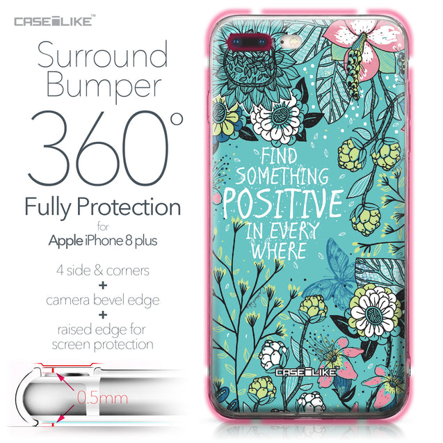 Apple iPhone 8 Plus case Blooming Flowers Turquoise 2249 Bumper Case Protection | CASEiLIKE.com