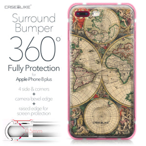 Apple iPhone 8 Plus case World Map Vintage 4607 Bumper Case Protection | CASEiLIKE.com