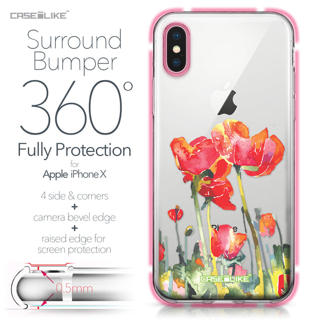 Apple iPhone X case Watercolor Floral 2230 Bumper Case Protection | CASEiLIKE.com