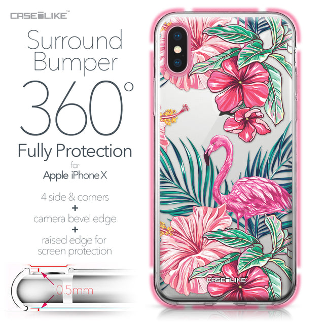 Apple iPhone X case Tropical Flamingo 2239 Bumper Case Protection | CASEiLIKE.com