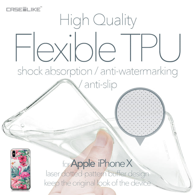 Apple iPhone X case Tropical Flamingo 2239 Soft Gel Silicone Case | CASEiLIKE.com