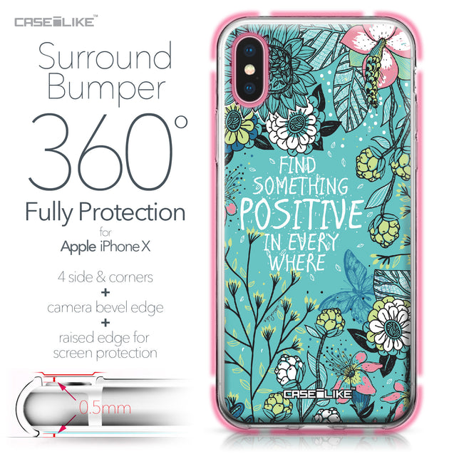 Apple iPhone X case Blooming Flowers Turquoise 2249 Bumper Case Protection | CASEiLIKE.com
