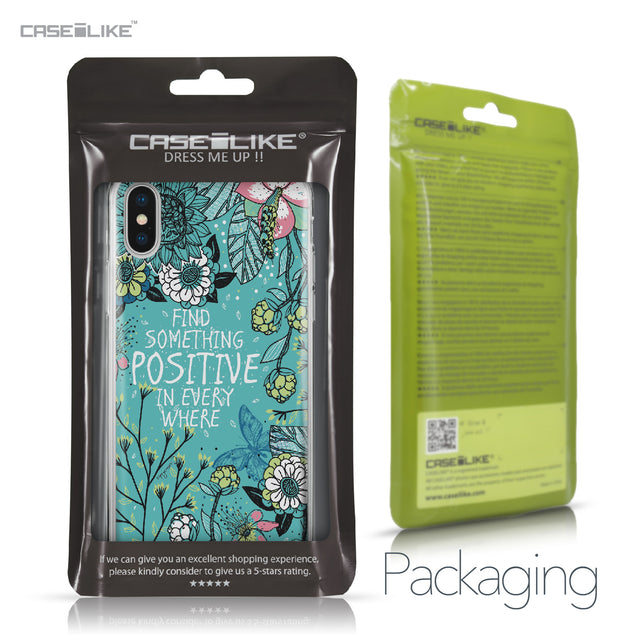 Apple iPhone X case Blooming Flowers Turquoise 2249 Retail Packaging | CASEiLIKE.com