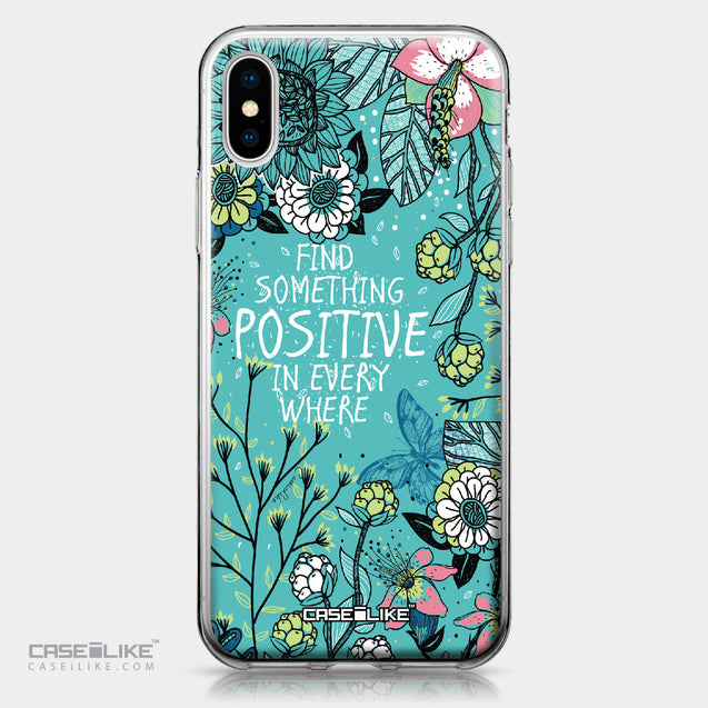 Apple iPhone X case Blooming Flowers Turquoise 2249 | CASEiLIKE.com