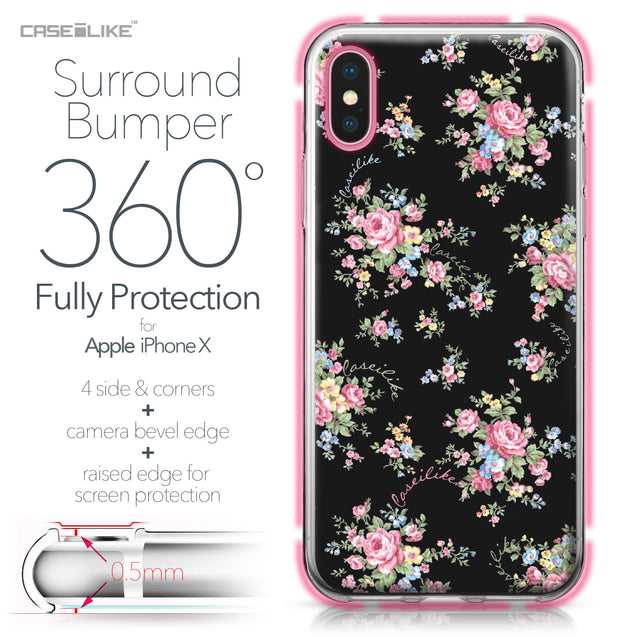 Apple iPhone X case Floral Rose Classic 2261 Bumper Case Protection | CASEiLIKE.com