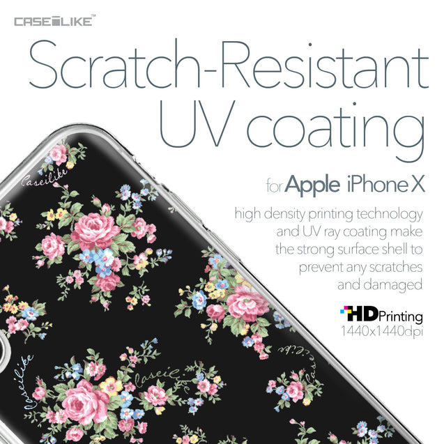 Apple iPhone X case Floral Rose Classic 2261 with UV-Coating Scratch-Resistant Case | CASEiLIKE.com