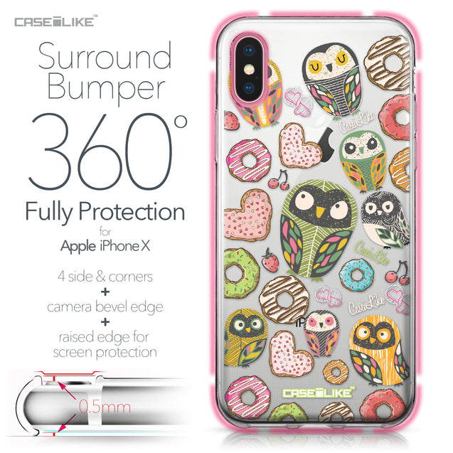 Apple iPhone X case Owl Graphic Design 3315 Bumper Case Protection | CASEiLIKE.com