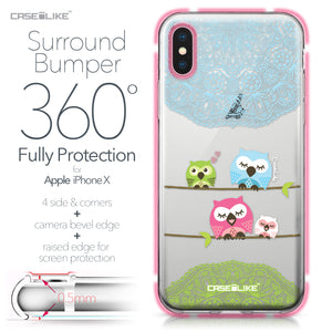 Apple iPhone X case Owl Graphic Design 3318 Bumper Case Protection | CASEiLIKE.com
