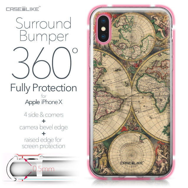 Apple iPhone X case World Map Vintage 4607 Bumper Case Protection | CASEiLIKE.com
