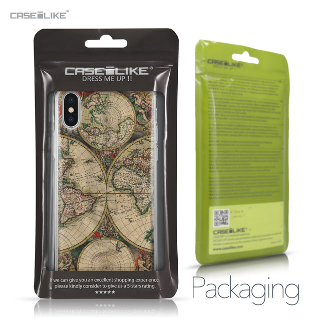 Apple iPhone X case World Map Vintage 4607 Retail Packaging | CASEiLIKE.com
