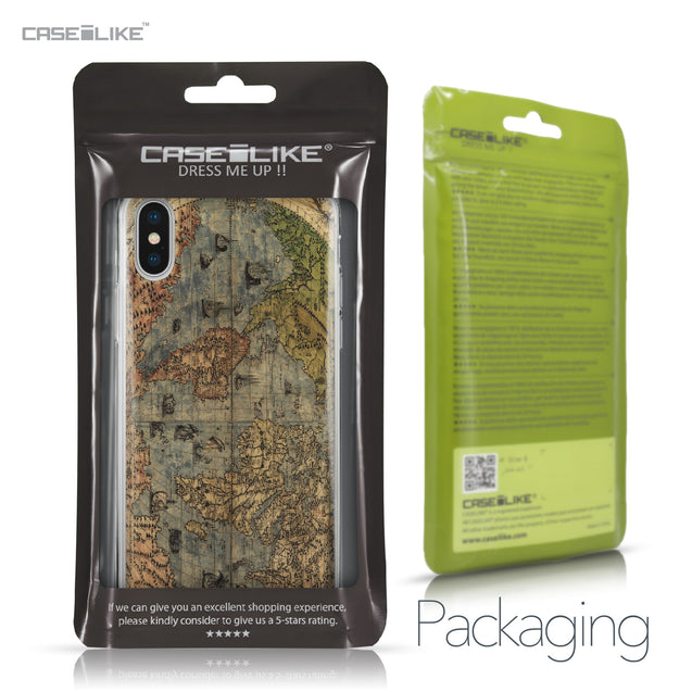 Apple iPhone X case World Map Vintage 4608 Retail Packaging | CASEiLIKE.com