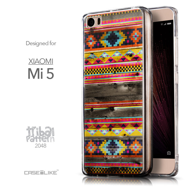 Front & Side View - CASEiLIKE Xiaomi Mi 5 back cover Indian Tribal Theme Pattern 2048