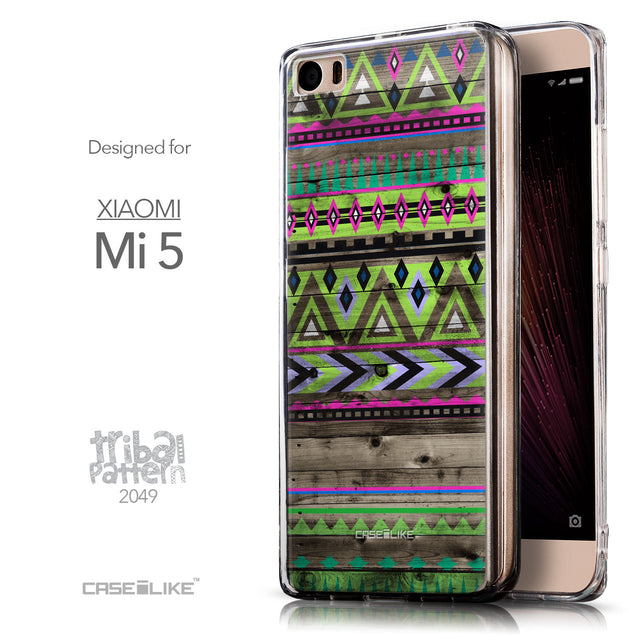 Front & Side View - CASEiLIKE Xiaomi Mi 5 back cover Indian Tribal Theme Pattern 2049