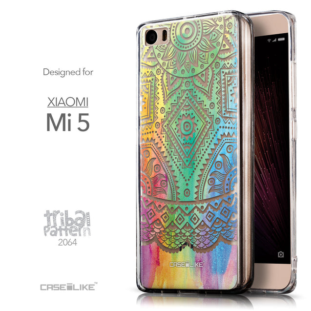 Front & Side View - CASEiLIKE Xiaomi Mi 5 back cover Indian Line Art 2064
