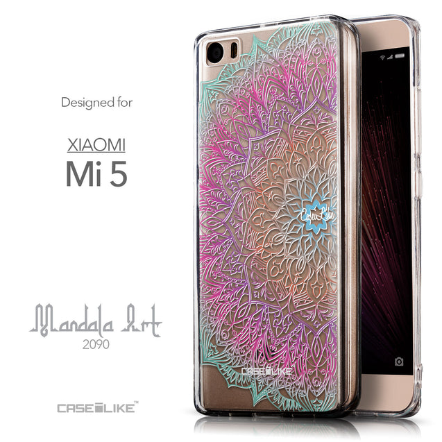 Front & Side View - CASEiLIKE Xiaomi Mi 5 back cover Mandala Art 2090
