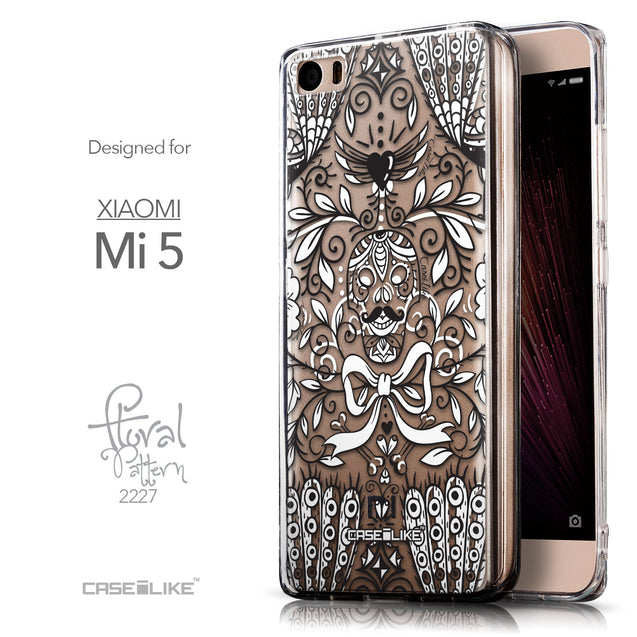 Front & Side View - CASEiLIKE Xiaomi Mi 5 back cover Roses Ornamental Skulls Peacocks 2227