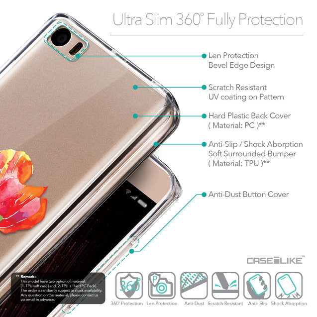 Details in English - CASEiLIKE Xiaomi Mi 5 back cover Watercolor Floral 2230