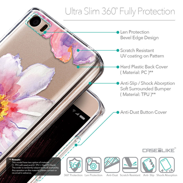 Details in English - CASEiLIKE Xiaomi Mi 5 back cover Watercolor Floral 2231