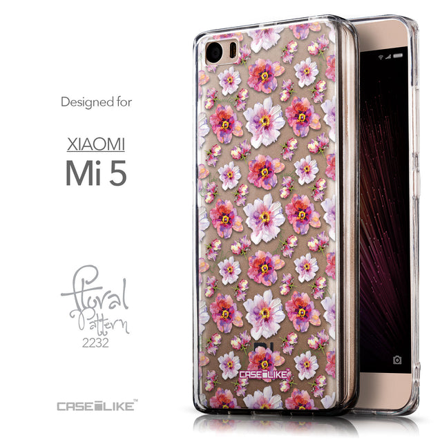Front & Side View - CASEiLIKE Xiaomi Mi 5 back cover Watercolor Floral 2232