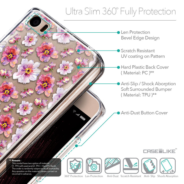 Details in English - CASEiLIKE Xiaomi Mi 5 back cover Watercolor Floral 2232