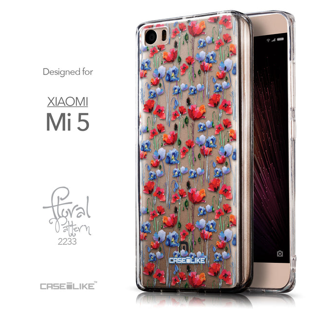 Front & Side View - CASEiLIKE Xiaomi Mi 5 back cover Watercolor Floral 2233