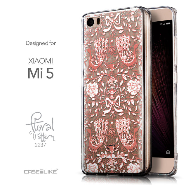 Front & Side View - CASEiLIKE Xiaomi Mi 5 back cover Roses Ornamental Skulls Peacocks 2237