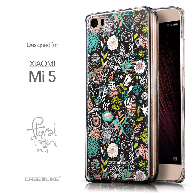 Front & Side View - CASEiLIKE Xiaomi Mi 5 back cover Spring Forest Black 2244