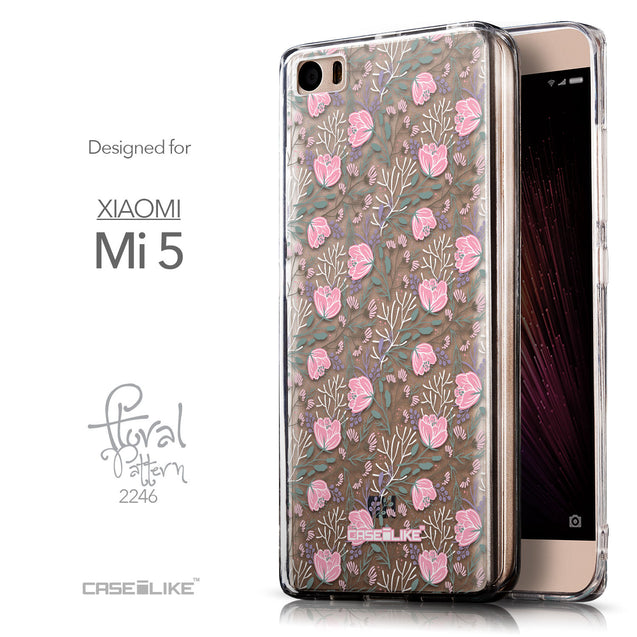 Front & Side View - CASEiLIKE Xiaomi Mi 5 back cover Flowers Herbs 2246