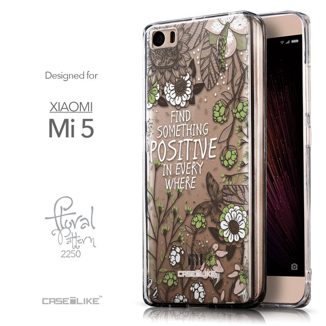 Front & Side View - CASEiLIKE Xiaomi Mi 5 back cover Blooming Flowers 2250