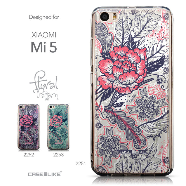 Collection - CASEiLIKE Xiaomi Mi 5 back cover Vintage Roses and Feathers Beige 2251