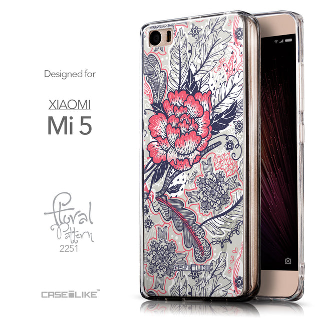 Front & Side View - CASEiLIKE Xiaomi Mi 5 back cover Vintage Roses and Feathers Beige 2251