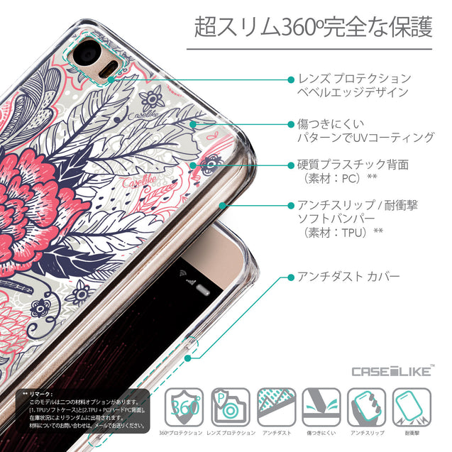 Details in Japanese - CASEiLIKE Xiaomi Mi 5 back cover Vintage Roses and Feathers Beige 2251