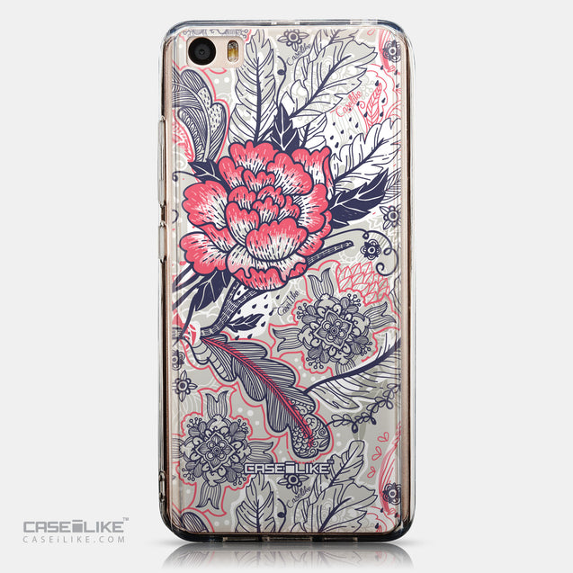 CASEiLIKE Xiaomi Mi 5 back cover Vintage Roses and Feathers Beige 2251