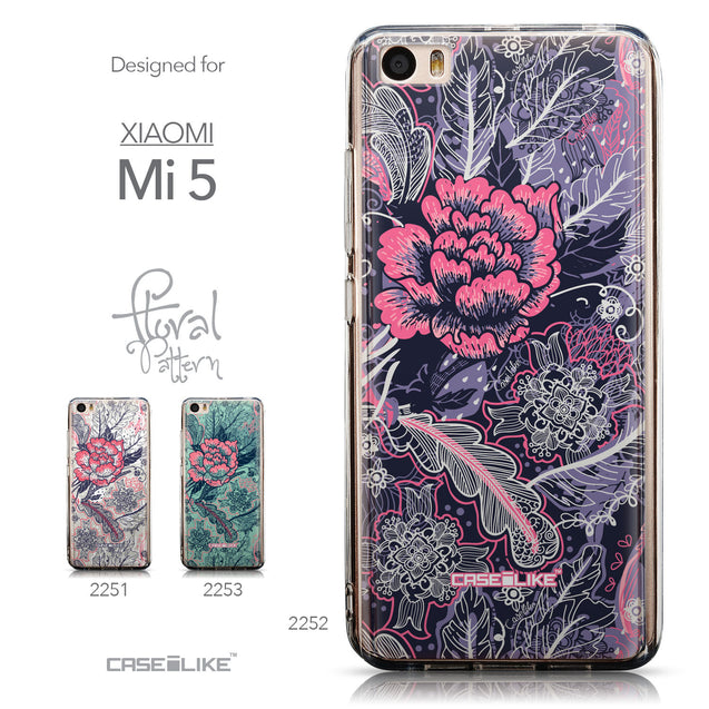 Collection - CASEiLIKE Xiaomi Mi 5 back cover Vintage Roses and Feathers Blue 2252