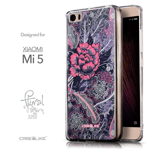 Front & Side View - CASEiLIKE Xiaomi Mi 5 back cover Vintage Roses and Feathers Blue 2252