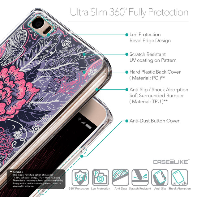 Details in English - CASEiLIKE Xiaomi Mi 5 back cover Vintage Roses and Feathers Blue 2252