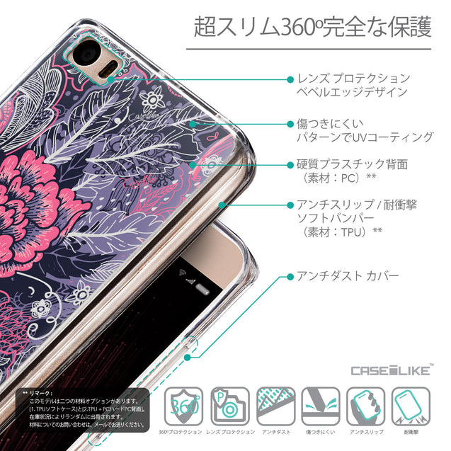 Details in Japanese - CASEiLIKE Xiaomi Mi 5 back cover Vintage Roses and Feathers Blue 2252