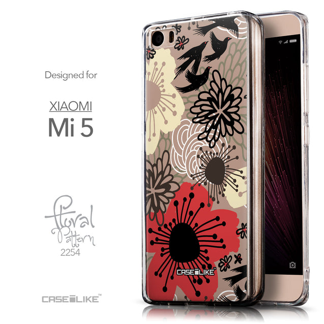 Front & Side View - CASEiLIKE Xiaomi Mi 5 back cover Japanese Floral 2254