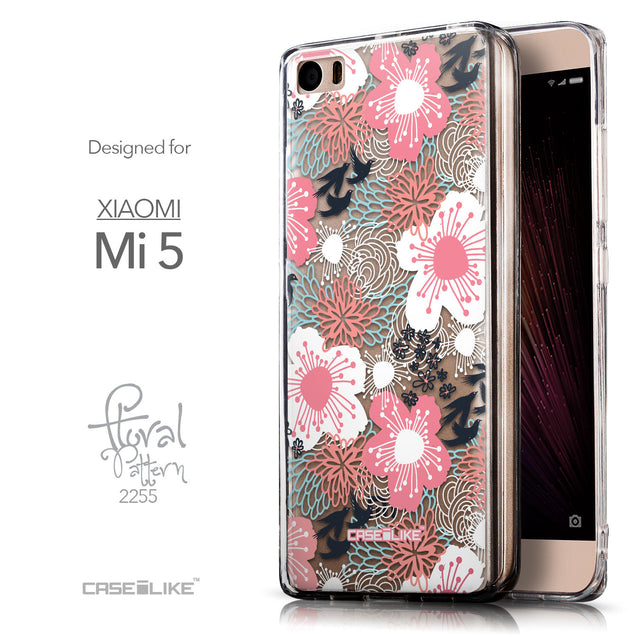 Front & Side View - CASEiLIKE Xiaomi Mi 5 back cover Japanese Floral 2255