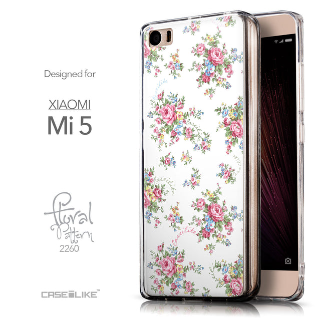 Front & Side View - CASEiLIKE Xiaomi Mi 5 back cover Floral Rose Classic 2260