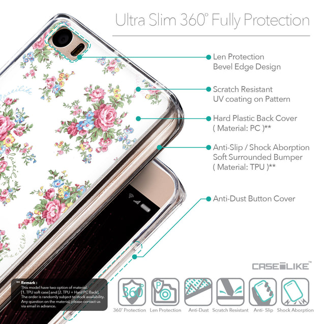 Details in English - CASEiLIKE Xiaomi Mi 5 back cover Floral Rose Classic 2260