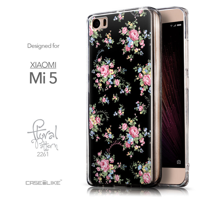 Front & Side View - CASEiLIKE Xiaomi Mi 5 back cover Floral Rose Classic 2261
