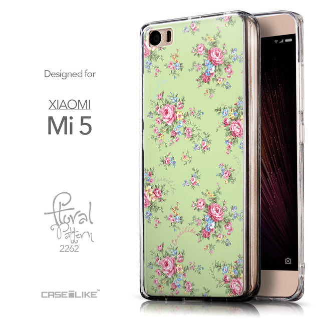 Front & Side View - CASEiLIKE Xiaomi Mi 5 back cover Floral Rose Classic 2262