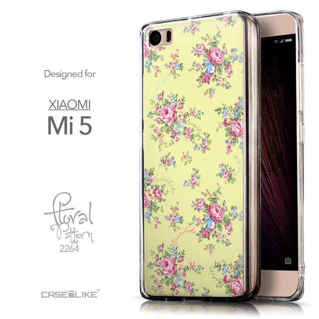 Front & Side View - CASEiLIKE Xiaomi Mi 5 back cover Floral Rose Classic 2264