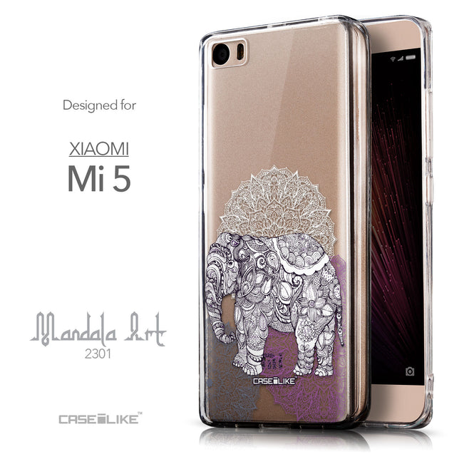 Front & Side View - CASEiLIKE Xiaomi Mi 5 back cover Mandala Art 2301