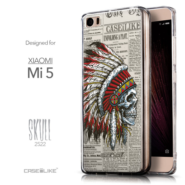 Front & Side View - CASEiLIKE Xiaomi Mi 5 back cover Art of Skull 2522