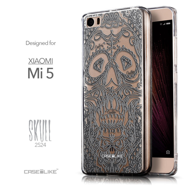 Front & Side View - CASEiLIKE Xiaomi Mi 5 back cover Art of Skull 2524