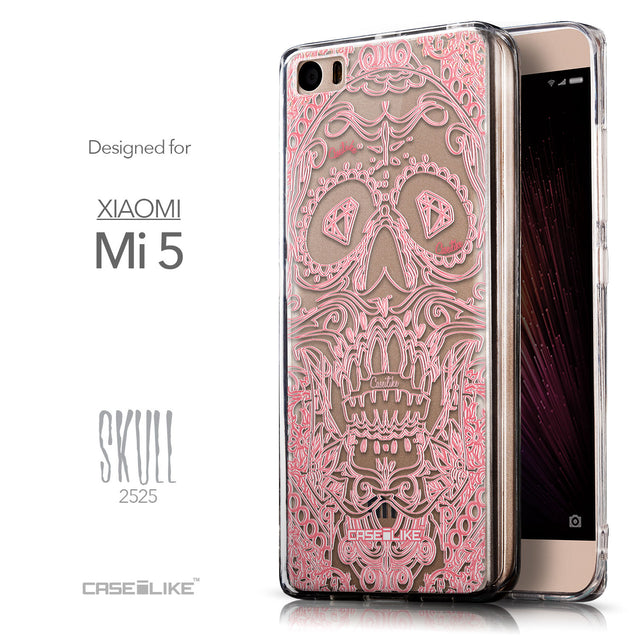 Front & Side View - CASEiLIKE Xiaomi Mi 5 back cover Art of Skull 2525
